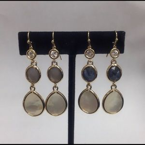 Mother-Of-Pearl & Stone Dangling Earring,NWT